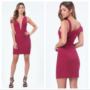Bebe Deep V Off Shoulder Dress